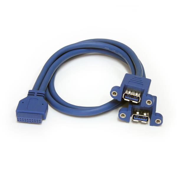 StarTech 2-poort Inbouwpaneel USB 3.0 Kabel - USB A naar Moederbord Aansluitkabel F/F