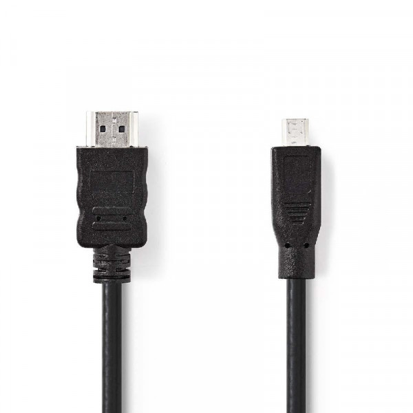 Micro HDMI high speed met ethernetkabel 2m zwart