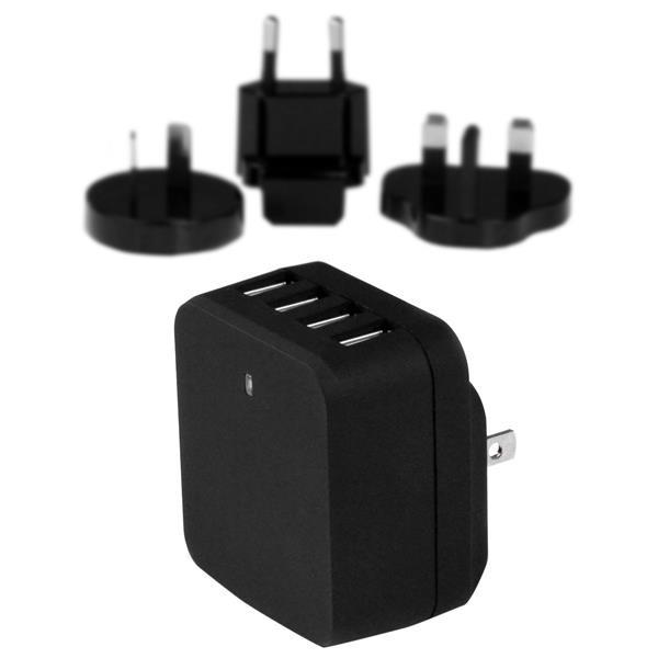 StarTech 4-Poorts USB lader - internationale reislader - 34W/6.8A - zwart