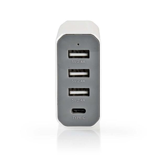 Lader 4 - Uitgangen 8 A USB / USB-C Wit