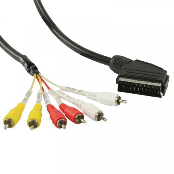 Scart (m) - 6x Tulp (m) Kabel - 3 meter - Zwart