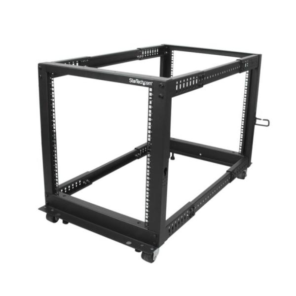 StarTech 12U open-frame serverrack met 4 stijlen met verstelbare diepte incl. zwenkwielen/stelpoten