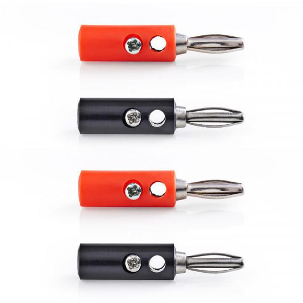 Banana Plug - 4 Stuks - Schroefbaar - Zwart/Rood