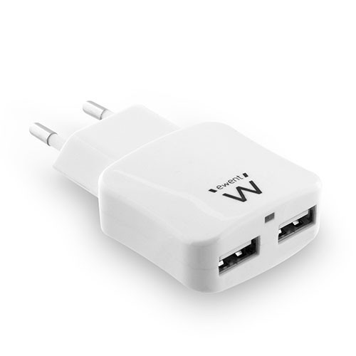 Ewent Dubbele USB thuislader 2,4A Wit