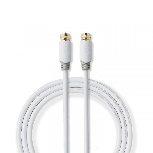F-Connector Antennekabel 5m Wit