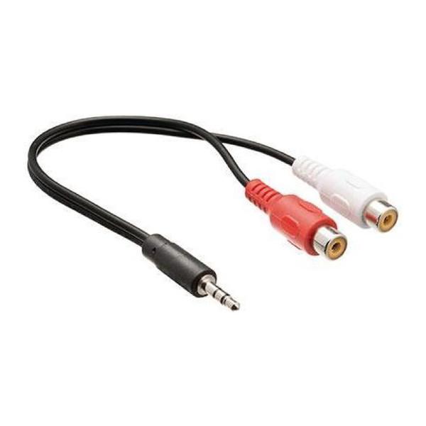 Stereo Tulp (v) - 3,5mm Stereo Jack (m) Kabel - 0,2 meter - Zwart