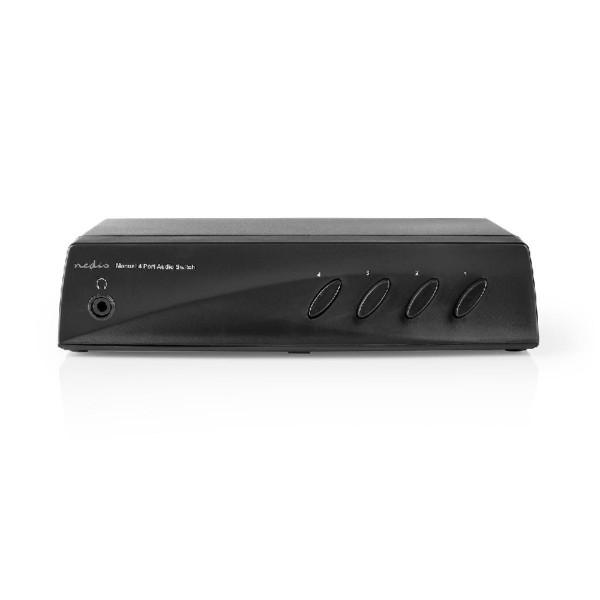 Stereo Tulp Audio Schakelaar - 4-poorts - Zwart