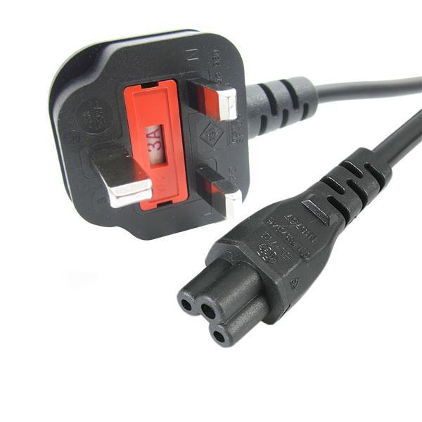 StarTech 2 m laptop-voedingskabel - 3 sleuven voor VK - BS-1363 naar C5 klaverbladvoedingskabel