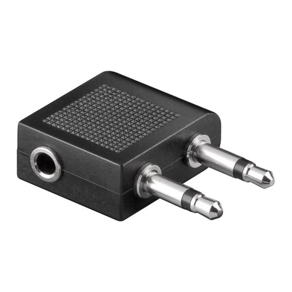 3,5mm (v) - 2x 3,5mm Stereo Jack (m) Vliegtuig Audioadapter - Zwart