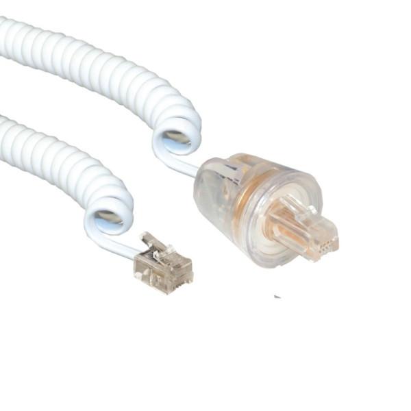 Telefoonkabel RJ10 met twist stop connectoren 4m Wit