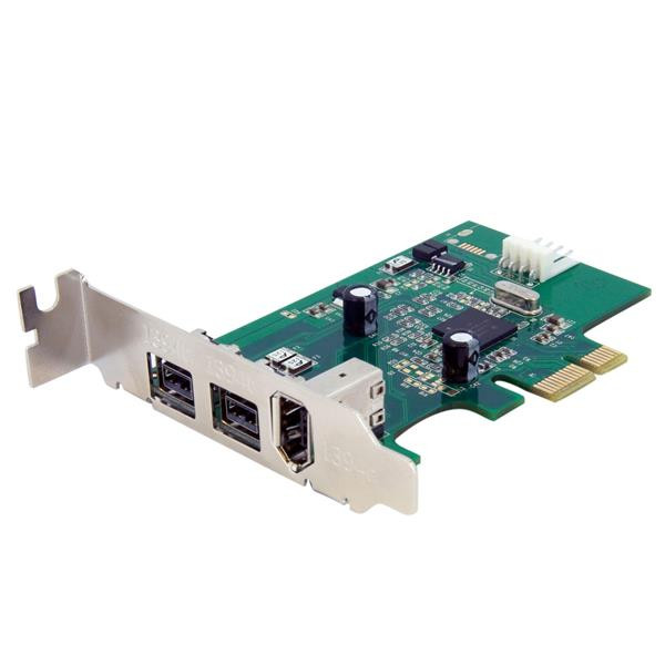 StarTech 3-poort 2b 1a Low Profile 1394 PCI Express FireWire Adapterkaart