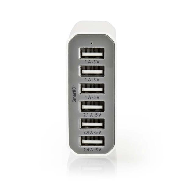 6 poorts USB lader Wit