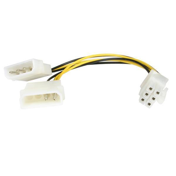 StarTech 15 cm LP4 naar 6-polige PCI Express videokaart-voedingskabeladapter
