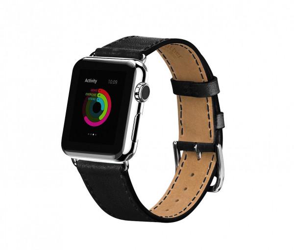 Leren Strap band voor Apple Watch 38/40mm Zwart