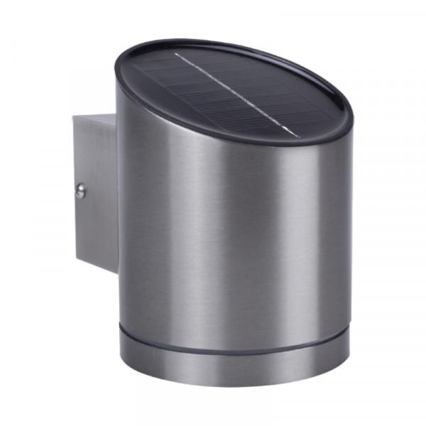 Solar LED Wandlamp voor Buiten 0,5W - RVS - Schuin Compact - Zilver