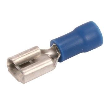 Kabelschoen platte stekkerhuls niet geisoleerd 1,5 - 2,5 mm Blauw (100st)